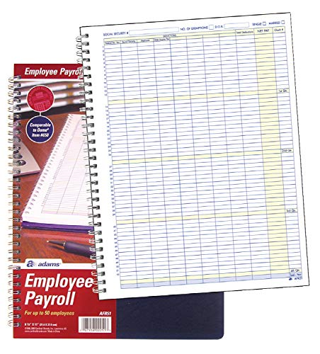 Adams Employee Payroll Record, 50 Employee Capacity, Spiral Binding, 8.5 x 11 Inches, White, (AFR51)