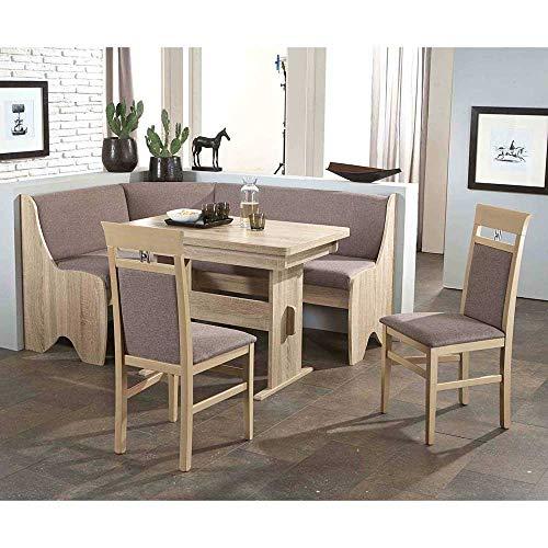 Pharao24 Küchen Sitzgruppe mit Eckbank Grau und Eiche Sonoma