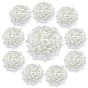 Luyue 10 Pack Silk Hydrangea Heads Artificial Flower with Stem Big Flower Arrangement for Home Decoration Wedding Centerpiece(White)