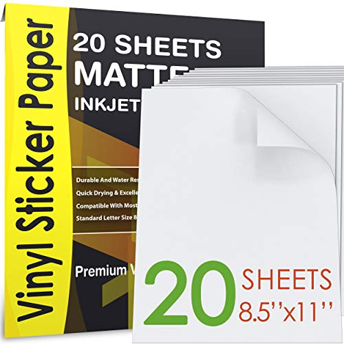 AGODEO Vinyl Sticker Paper Matte for Inkjet Printer 20 Sheets White, Premium Printable Decal Paper Tear & Scratch Resistant Quick Ink Dry Sticker Paper for Making Labels & Crafts