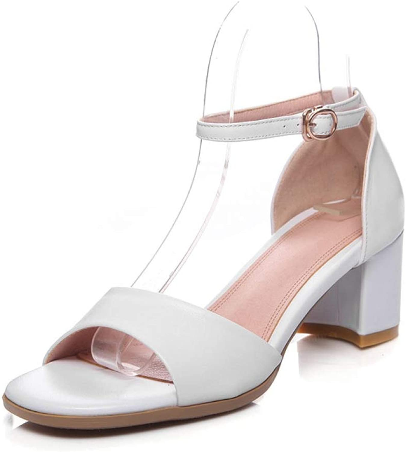 T-JULY Sandals for Women Genuine Leather shoes Summer Sexy High Heels Open Toe Party shoes with Buckle Ankle Strap