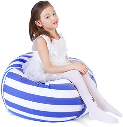featured product ZGWJ Stuffed Animal Storage Bean Bag Chair, Pouf Ottoman for Toy Storage, Comfy Chair Comfortable Seating Toy Organizer for Kids Bedroom 23 (Blue)