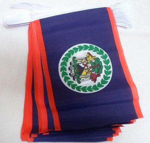 AZ FLAG Guirnalda 6 Metros 20 Banderas de Belice 21x15cm - Bandera BELICEÑA 15 x 21 cm - BANDERINES