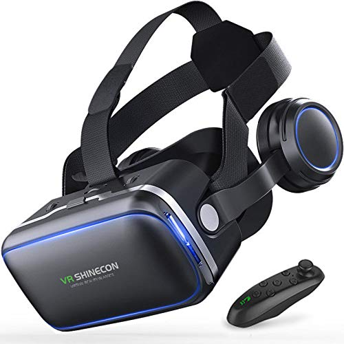 VR 3D Headset Virtual Reality Goggles with Build-in Stereo Headphones and Remote Controller VR Glasses Movie Games for iOS & Android & Windows Phones within 4.7-6.0' - Black