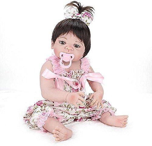 SHTWAD Reborn Baby-Puppe Sch  lebensechte niedlich Augen offen mädchen Silikon Neugeborenen Kinder Playmate Mit Kleidung