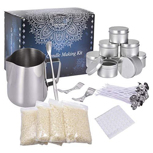 Soja Bohnen Wachs Kerzenherstellung Kit, Kerze Anfänger DIY Starter Set, um große Duftkerze mit Soja Wachs, Gießen Pitcher Kerzen Kunst und Bastelbedarf zu erstellen