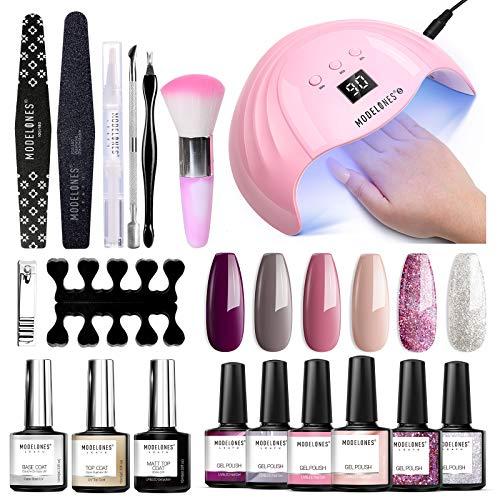 Modelones Gel Nail Polish Kit Popular Elegant Colors Gel Collection with 48W U V/LED Light - 6...