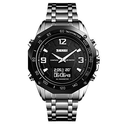 Skmei, orologio da uomo al quarzo, orologio da polso da uomo, con display dell'ora, sveglia, in acciaio inox