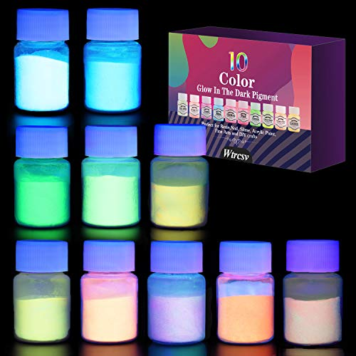Glow in The Dark Pigment Powder-10 Colour Neon Colour Paint-Fluorescent Powder for Nails, Epoxy Resin, Acrylic Paint,Slime or DIY Projects