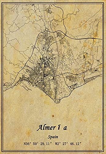 Póster de España con mapa de Almería en lienzo con impresión de estilo vintage y decoración sin marco para regalo de 30 x 40 cm