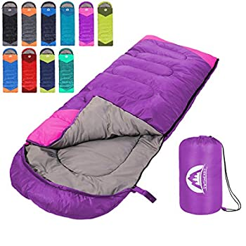 Sleeping Bag 3 Seasons  Summer Spring Fall  Warm & Cool Weather - Lightweight,Waterproof Indoor & Outdoor Use for Kids Teens & Adults for Hiking and Camping