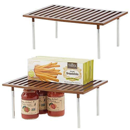 mDesign 2er-Set Küchen-Organizer – praktischer Schrankeinsatz aus Bambus und Edelstahl – stilvoller Ordnungshelfer für Küchenschränke, Arbeitsplatten etc. – braun