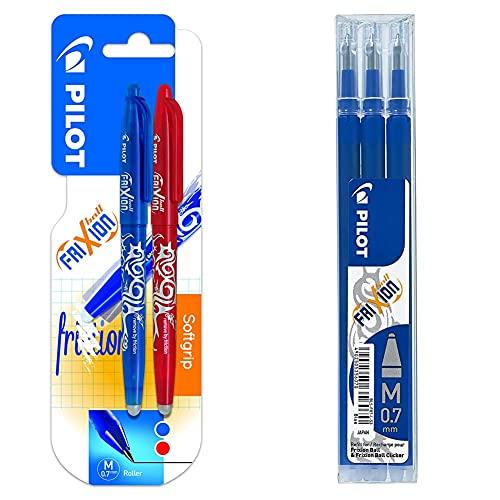 Pilot Spain Frixion Ball Bolígrafo borrable, 2 unidades, color azul y rojo + BLS-FR7-L-S3 Recambio Frixion, color azul, paquete de 3 unidades
