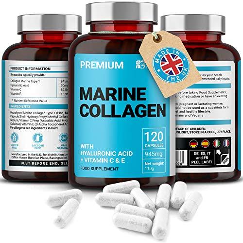 Marine Kollagen Komplex 630mg | 120 Premium Kapseln | Samt Collagen, Hyaluronsäure & Vitamin C & E | Hergestellt im UK von Mayfair Nutrition