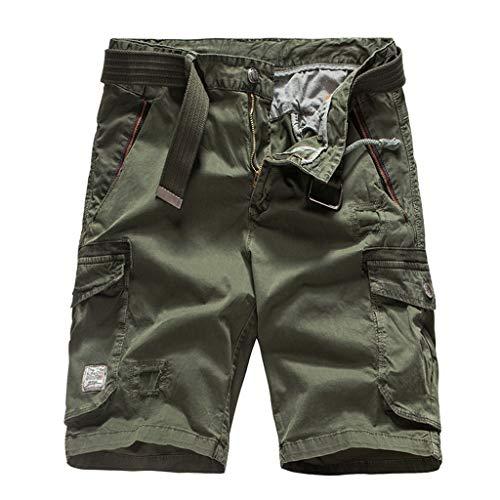 ZEFOTIM Pantalones Cortos Informales para Hombre, de algodón, con Bolsillo, sólidos, para Trabajo al Aire Libre, Pantalones Cortos - - 50