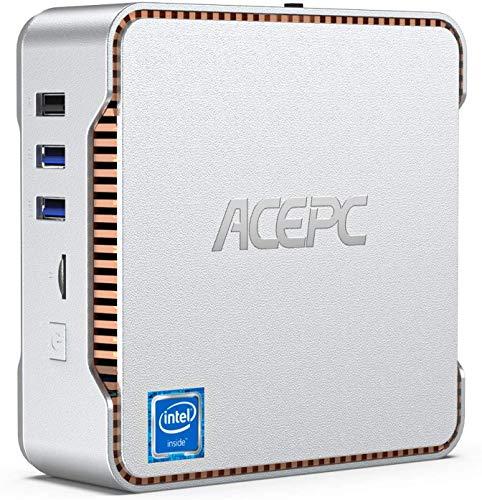 Mini PC, ACEPC 12GB DDR4 / 128GB ROM Intel Celeron J4125 Prozessor Windows 10 Pro Micro-Desktop-Computer, Unterstützung für dreifaches Display, Gigabit-Ethernet, Dualband-WLAN, Bluetooth 4.2, 4K HD