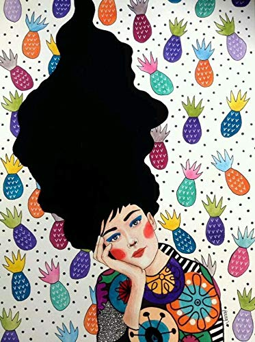YHZSML Pintura De Diamante Infantil,Chica De Cabello De Moda Imagen,Cristales de estrás, Bordado, Cuadros, Punto de Cruz Lienzo Pared Decoración 40x50cm