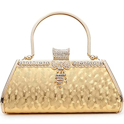 Womans Vintage Evening Clutch Bag Wedding Gold/Sivler Purses Bridal Prom Handbag Party Bags Metal Frame Hard Case