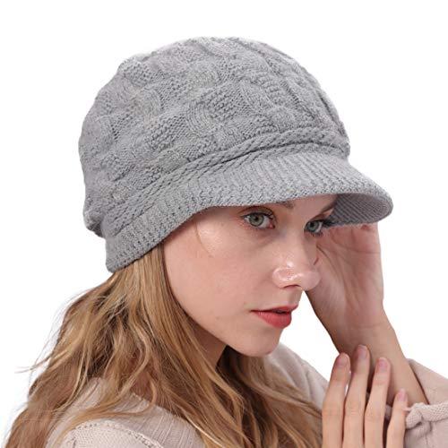 YONKINY Gorro de Punto Cálido Invierno Boina de Mujeres Niña Crochet Elegante Sombrero de Vendedor de Periódicos Suave Gorro Beanie de Lana con Visera para Nieve Esquí (Gris Claro)