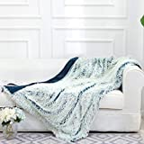 Cheer Collection Reversible Soft Fur Blanket | Long Shaggy Hair Blue Fuzzy Throw Blanket - 50' x 60' inches