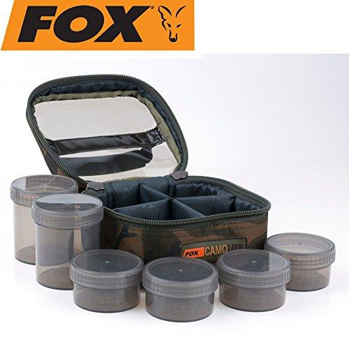 Fox Camolite Glug 6 Pot case 16x16x10cm - Ködertasche für Karpfenköder, Angeltasche für Boilies & Pellets, Tackletasche für Köder