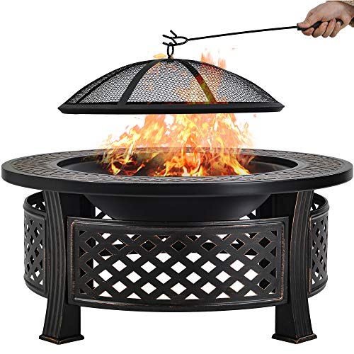 Outdoor Fire pit, Big Round Fire Bowl, Garden Patio Heater, Natural Rusted Metal Brazier with Poker, Charcoal Grid, Mesh Cover, φ81 cm, Without Cooking Grid