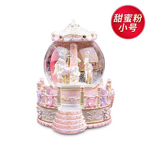 Gazebo Carousel Crystal Ball Music Box muziekdoos hars ambachten geschenk zoet roze trompet gewone geen lamp