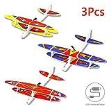Herefun 3Pcs Avion Planeurs Enfant Jouet, Avion Polystyrene, Idéal pour Les Amateurs d'Aéronautique (Chargement USB)