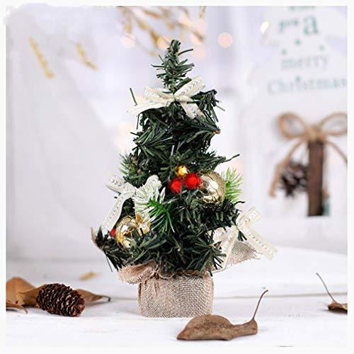 Lucidting Mini Decoración Árbol De Navidad Hotel Ventana Restaurante Mesa Decoración Arpillera arbolito Dorado
