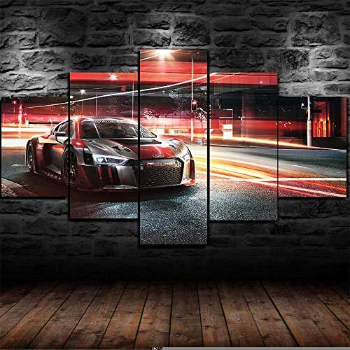 13Tdfc Cuadros Decor Salon Modernos 5 Piezas Lienzo Grandes XXL Murales Pared Hogar Pasillo Decor Arte Pared Abstracto Enmarcado AUD R8 LMS Racing Sports Car HD Impresión Foto 150X80Cm Regalo