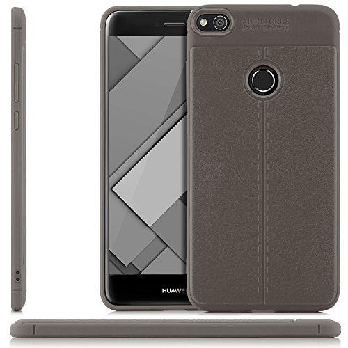 zanasta Custodia Huawei P8 Lite (2017) Cover, Silicone Slim Case Soft Flex Copertura TPU Protettiva Shell | Aspetto in Pelle Grigio