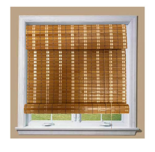 THY COLLECTIBLE Bamboo Roll Up Window Blind Sun Shade, Light Filtering Roller Shades with 8-Inch Valence - Tan Colored Bamboo (44' x 64')