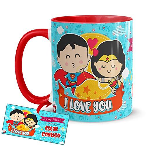 Kembilove Taza Desayuno para Parejas – Tazas Originales de Frikis para Enamorados – Taza Roja con Mensaje Gracioso I love you – Tazas de de café para regalar el día de San Valentín