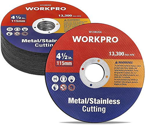 WORKPRO 20-pack Cut-Off Wheels, 4-1/2 x 7/8-inch Metal&Stainless Steel Cutting Wheel, Thin Metal Cutting Disc for Angle Grinder