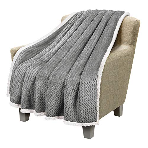"""Catalonia Sherpa Throws Blanket,Super Soft Comfy Fluffy Fuzzy Fleece Plush Blanket for Sofa Couch Bed Reversible All Season for Adults Children50""""x60"""" Chevron Grey"""
