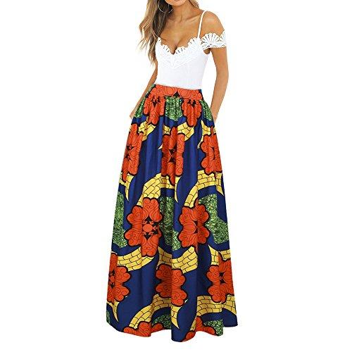 CLOCOLOR Falda Larga Plisada Encaje con Estampado Exótico Africano para Mujer Talla Grande Casual Cintura Alta Falda Vintage Longitud Maxi con Bolsillo, Naranja XL (Cintura 78cm)