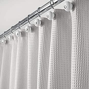 mDesign Long Polyester/Cotton Blend Machine Washable Fabric Shower Curtain with Waffle Weave and Rust-Resistant Metal Grommets for Bathroom Showers and Bathtubs 72  x 84  - Light Gray
