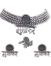 Total Fashion Handcrafted Oxidised Silver Afghani Jewellery Combo Musafir Choker Necklace Set for Women & Girls