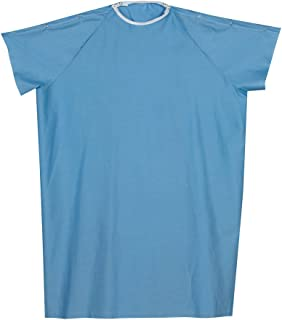 DMI Hospital Gown, Easy Access Patient Gown, Blue Hospital Gown with Simple to Fasten Snap Shoulders