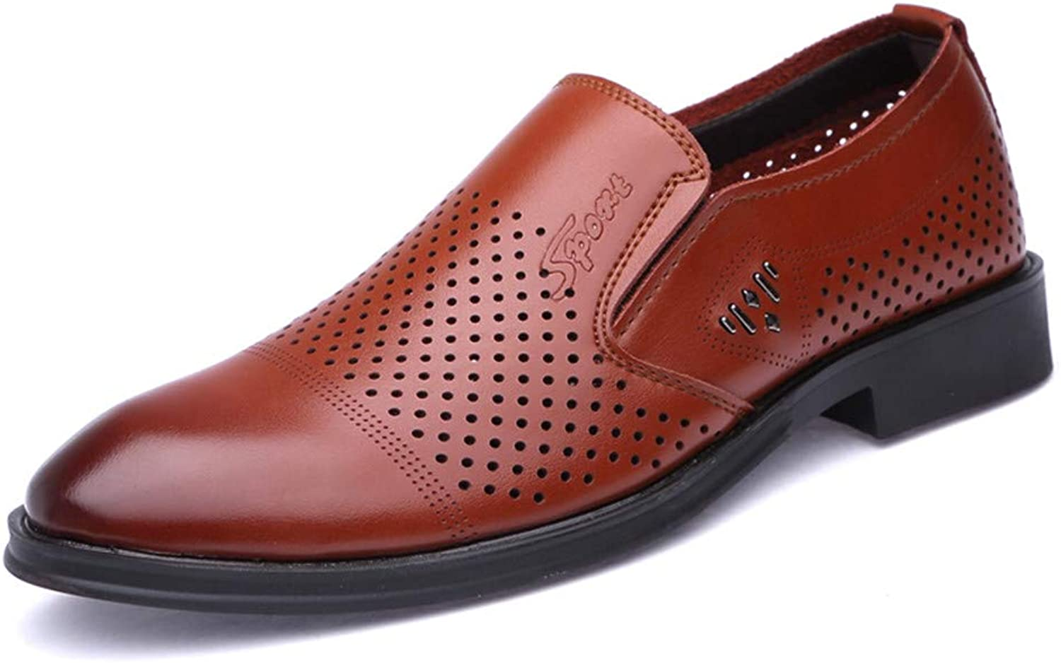 Z.L.F shoes Men's Business Oxford Casual Perforation Breathable Comfortable One Foot Pedal Formal shoes Leather shoes