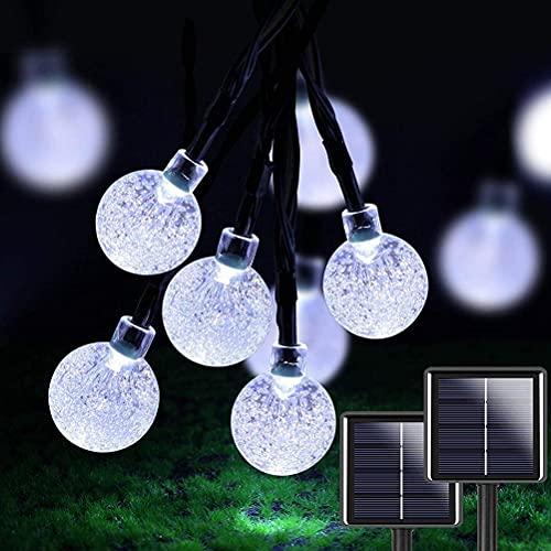 2 piezas de 50 LED de 23 pies de cristal de globo solar luces solares impermeables al aire libre con 8 modos de iluminación para jardín patio luz