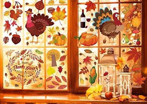 Voqeen Herbst Blätter Fenster Aufkleber Erntedank Cartoon Truthahn Aufkleber Thanksgiving Ahornblatt Dekorationen Saisonale Deko für Kinder Party statisch selbsthaftend Sticker (Mehrfarbig)