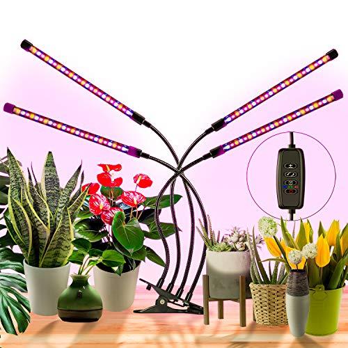 BESROY Pflanzenlampe LED,Pflanzenlicht, 4 Heads 360°Einstellbar Grow Lampe für Zimmerpflanzen pflanzenlampe led mit zeitschaltuhr,3 Arten von Modus,10 Helligkeitsstufen