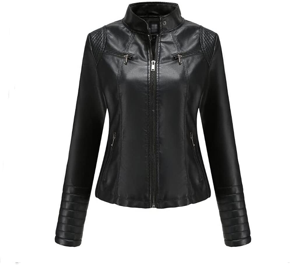 CDQYA Leather Jacket Women's Leather Spring and Autumn Jackets Ladies Motorcycle Large Size Stand Collar Leather Jacket Jacket Female (Color : Black, Size : 4XL Code)