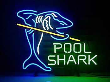 Urby Pool Shark Billiards Real Glass Neon Light Sign Home Beer Bar Pub Recreation Room Game Room Windows Garage Wall Sign 18  x14   A12-04