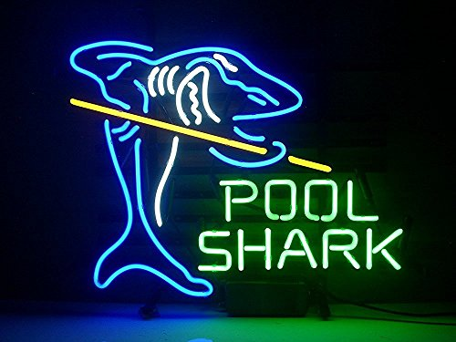Urby Pool Shark Billiards Real Glass Neon Light Sign Home Beer Bar Pub Recreation Room Game Room Windows Garage Wall Sign 18''x14'' A12-04