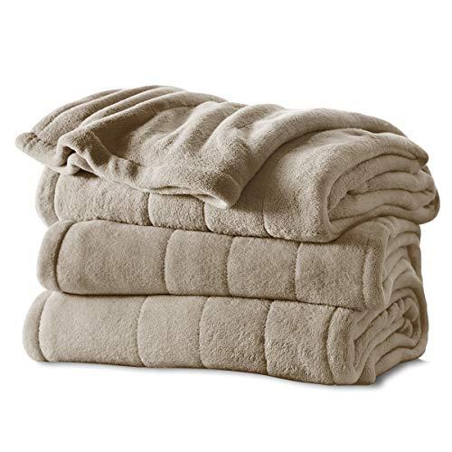 Sunbeam Heated Blanket | Microplush, 10 Heat Settings, Mushroom, Queen - BSM9KQS-R772-16A00
