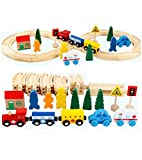 Lalia Juego de Trenes Tren vía férrea de Madera 33 Piezas, Juguetes de Madera para niños, Colorido, Juego de Trenes de vías férreas. Gran Regalo para pequeños fanáticos del ferrocarril Tren de Madera