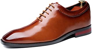 Leather Business Oxfords for Men Formal Dress Shoes Square Toe Lace up Synthetic Leather Burnished Block Heel Stitch shoes (Color : Yellow, Size : 46 EU)