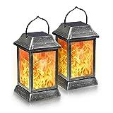 SIMPDIY simuliertes Flammen-Solarplatzlicht, wasserdicht, lichtempfindliche automatische Ein-/Ausschaltung, Garten-Landschaftsleuchte, Garten, Straßendekorationsleuchte (2 Stück)
